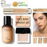 Pudaier Face Foundation Makeup Set Liquid Foundation Cream Matte Foundation Base Face ALL Concealer Cosmetic Professional base - Princesas del maquillaje