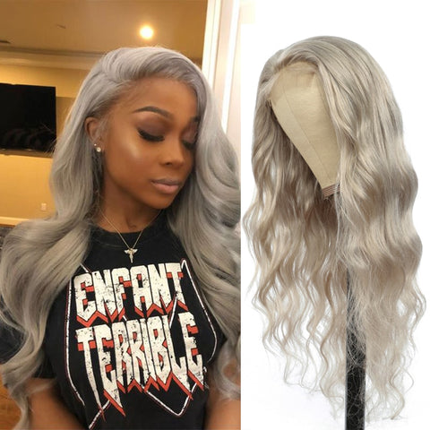 Silver Grey Body Wave Lace Front Wig Brazilian Remy Pre Plucked Human Hair Wigs For Black Women SOKU 150% Density 13x4 Lace Wig - Princesas del maquillaje
