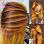 Highlight Ginger 13x6 Closure Lace Front Wigs Ombre Orange HD Lace Frontal Human Hair Wigs Pre Plucked Baby Hair Wig Body Wave - Princesas del maquillaje