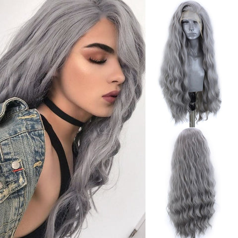 Charisma Sliver Grey Synthetic Lace Front Wig With Natural Hairline Water Wave High Temperature Hair Wigs For Black Women - Princesas del maquillaje