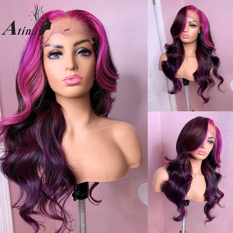 Purple Colored Human Hair Wig Pre Plucked Brazilian Remy Wavy Ombre Highlight  Rose Red HD Transparent Lace Front Wig Atina - Princesas del maquillaje
