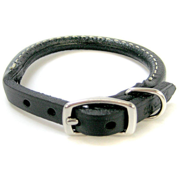 "Circle T Pet Leather Round Collar - Black 10"" Neck"