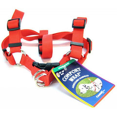 "Tuff Collar Comfort Wrap Nylon Adjustable Harness - Red Large (Girth Size 26""-40"")"
