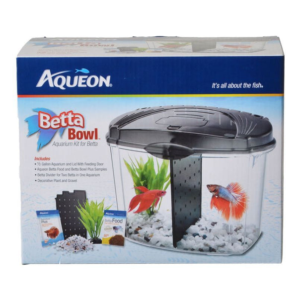 Aqueon Betta Bowl Starter Kit - Black .5 Gallon