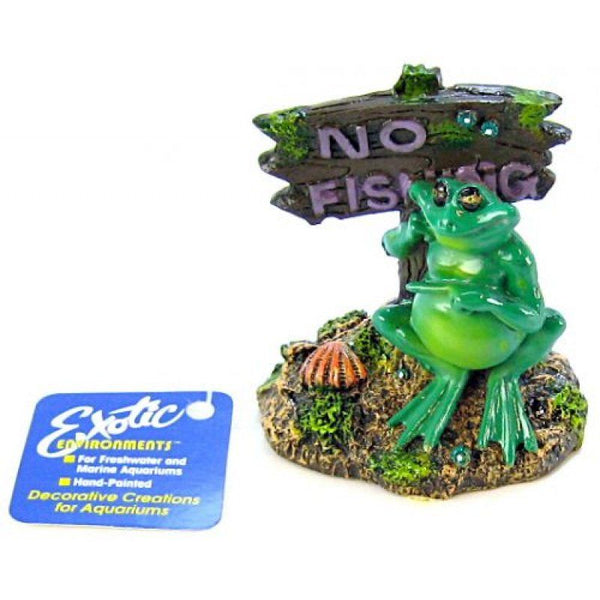 "Blue Ribbon Pot Belly Frog No Fishing Sign Ornament 3""L x 3""W x 3.5""H"
