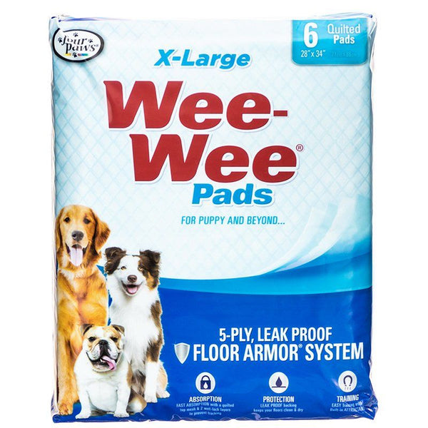 "Four Paws X-Large Wee Wee Pads 6 Pack (28"" Long x 30"" Wide)"