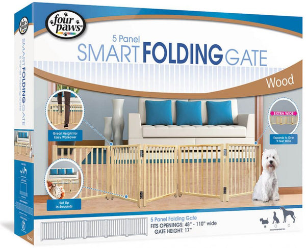 "Four Paws Free Standing Gate for Small Pets 5 Panel (For openings 48""-110"" Wide)"