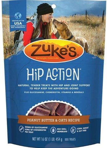 Zukes Hip Action Dog Treats - Peanut Butter & Oats Recipe 1 lb