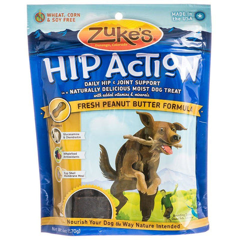 Zukes Hip Action Dog Treats - Peanut Butter & Oats Recipe 6 oz