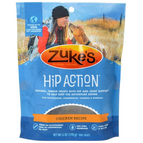 Zukes Hip Action Hip & Joint Supplement Dog Treat - Roasted Chicken Recipe 6 oz