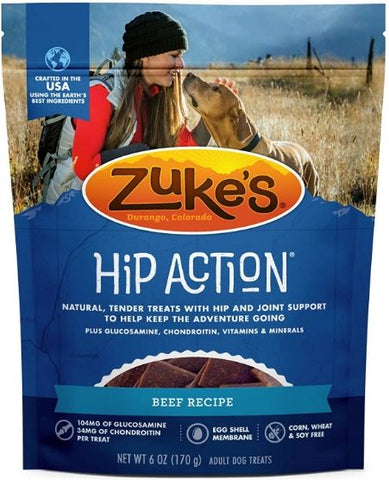 Zukes Hip Action Hip & Joint Supplement Dog Treat - Roasted Beef Recipe 6 oz