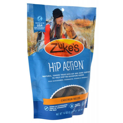 Zukes Hip Action Hip & Joint Supplement Dog Treat - Roasted Chicken Recipe 1 lb
