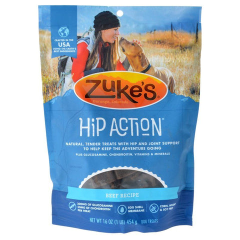 Zukes Hip Action Hip & Joint Supplement Dog Treat - Roasted Beef Recipe 1 lb