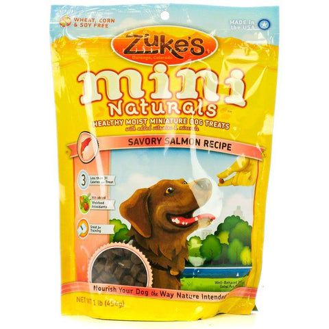Zukes Mini Naturals Dog Treat - Savory Salmon Recipe 1 lb