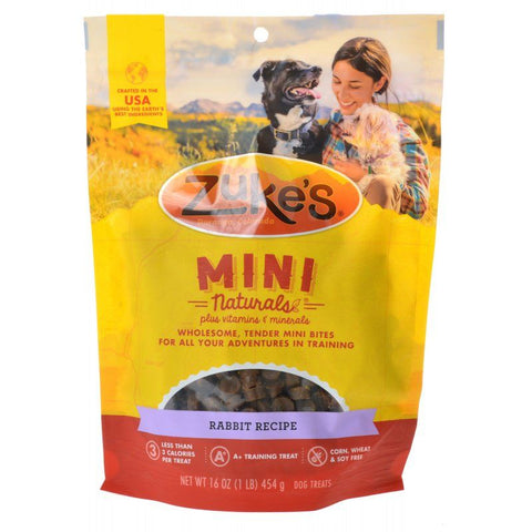 Zukes Mini Naturals Dog Treat - Wild Rabbit Recipe 1 lb