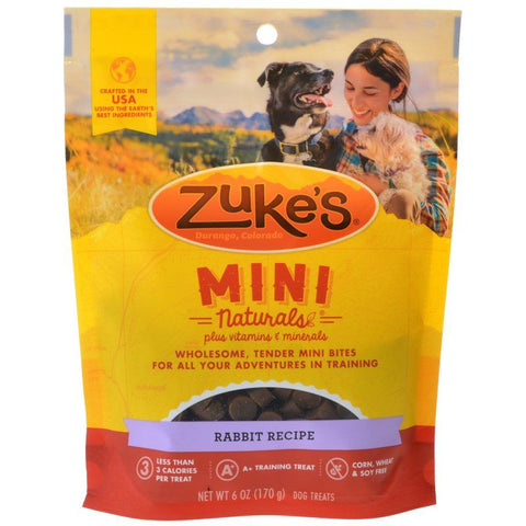 Zukes Mini Naturals Dog Treat - Wild Rabbit Recipe 6 oz