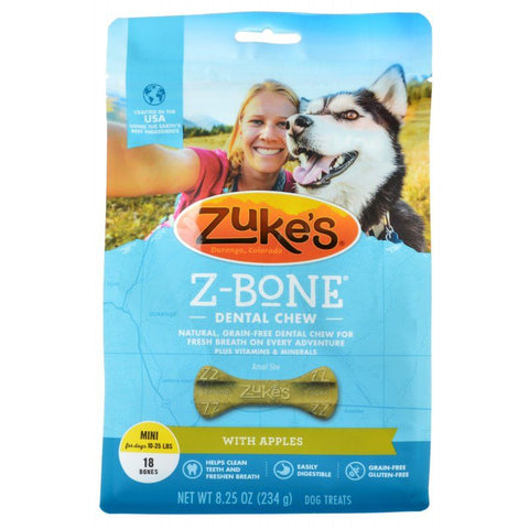 Zukes Z-Bones Dental Chews - Clean Apple Crisp Mini (18 Pack - 9 oz)