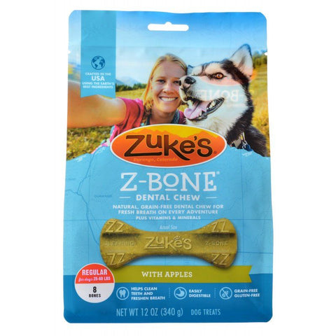 Zukes Z-Bones Dental Chews - Clean Apple Crisp Regular (8 Pack - 12 oz)