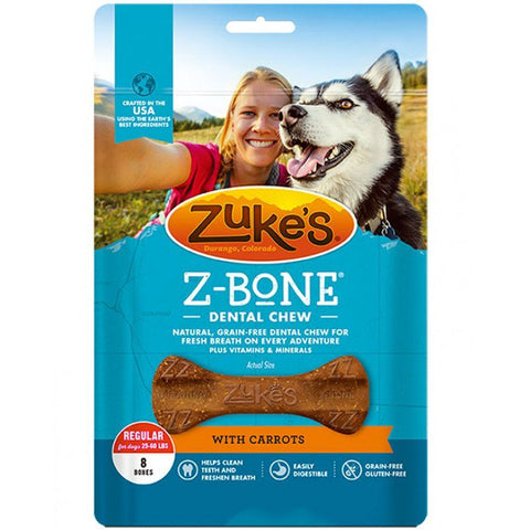 Zukes Z-Bones Dental Chews - Clean Carrot Crisp Regular (8 Pack - 12 oz)