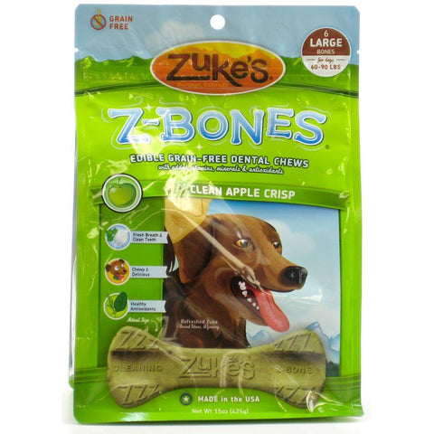 Zukes Z-Bones Dental Chews - Clean Apple Crisp Large (6 Pack - 15 oz)