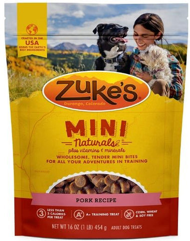 Zuke's Mini Naturals Moist Dog Treats - Roasted Pork Recipe 1 lb
