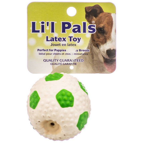 "Lil Pals Latex Mini Soccer Ball for Dogs - Green & White 2"" Diameter"