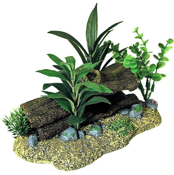 Blue Ribbon Exotic Environments Log Cavern Jungle Floral Aquarium Ornament