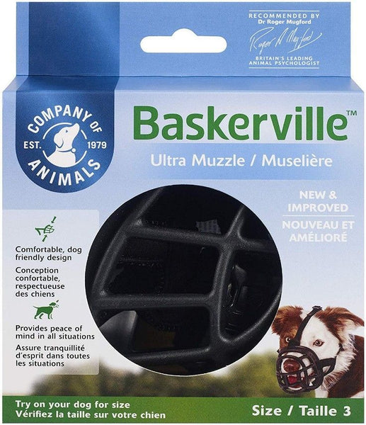 "Baskerville Ultra Muzzle for Dogs Size 3 - Dogs 25-45 lbs - (Nose Circumference 11"")"