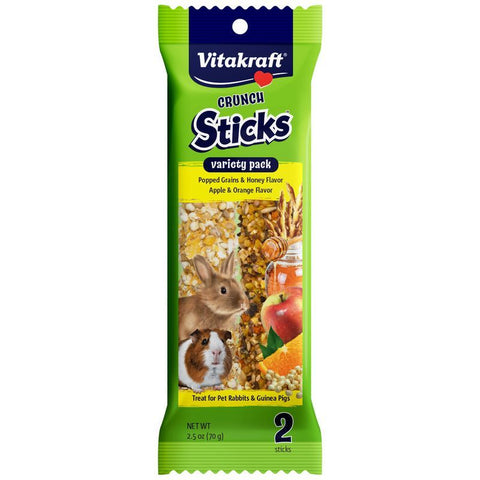 Vitakraft Crunch Sticks Rabbit & Guinea Pig Treats Variety Pack - Popped Grains & Apple 2 Pack