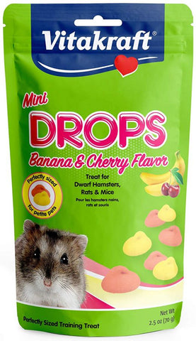 Vitakraft Mini Drops Treat for Hamsters, Rats & Mice - Banana & Cherry Flavor 2.5 oz