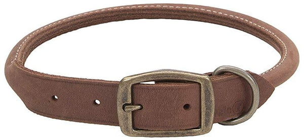 "CircleT Rustic Leather Dog Collar Chocolate 20""L x 3/4""W"