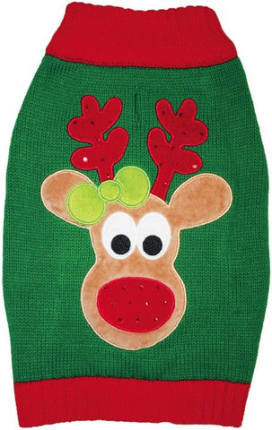 Fashion Pet Green Reindeer Dog Sweater