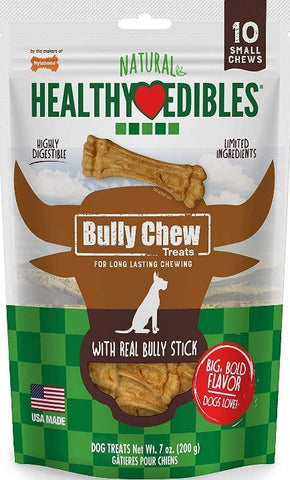 Nylabone Natural Healthy Edibles Bully Chew Dog Bone Treat - Small 10 count