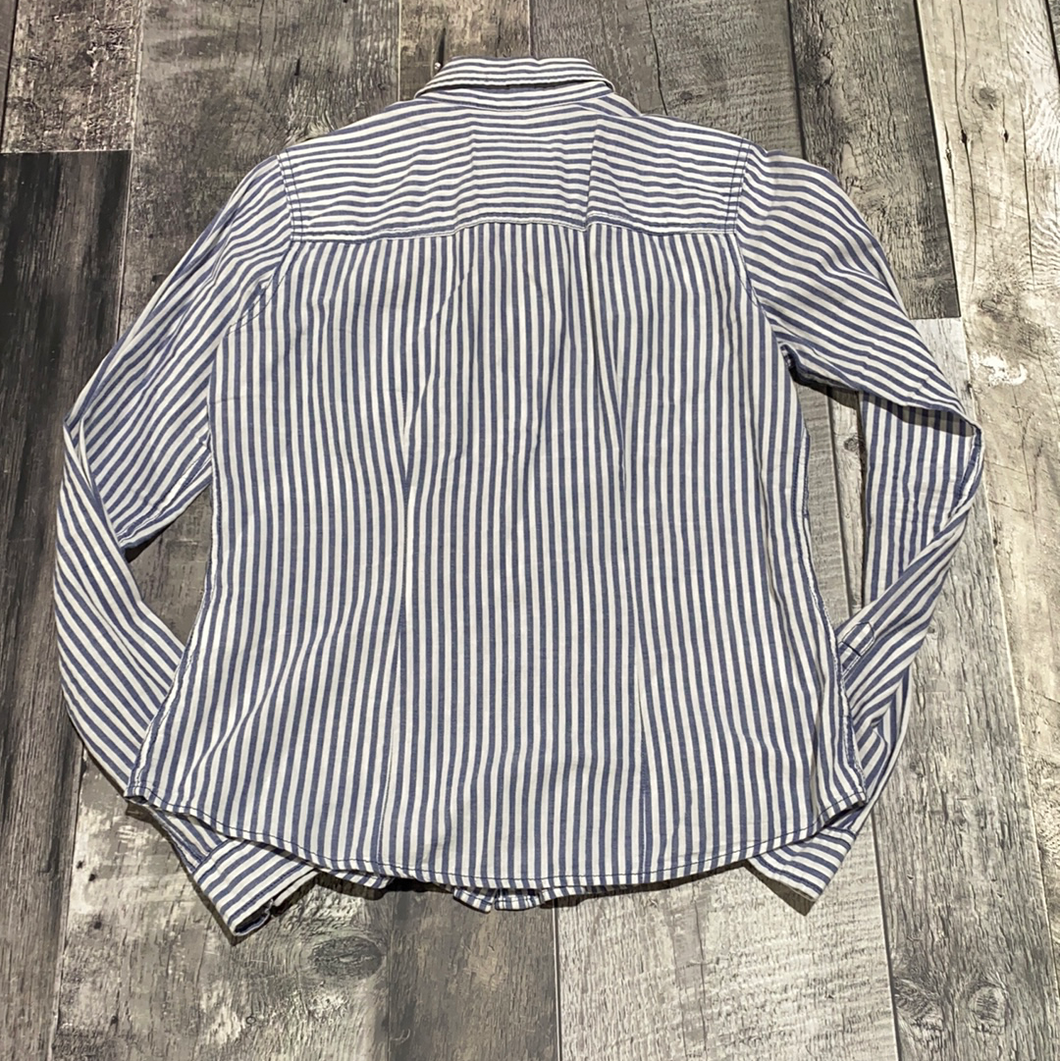 Hollister blue/white striped button up - Hers size S