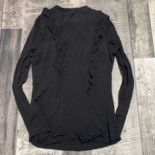 Load image into Gallery viewer, H&M ruffle black long sleeve - Hers size M