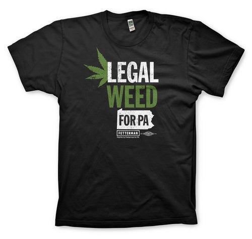 item displays a black garment with the design spelling legal weed in white and green ink