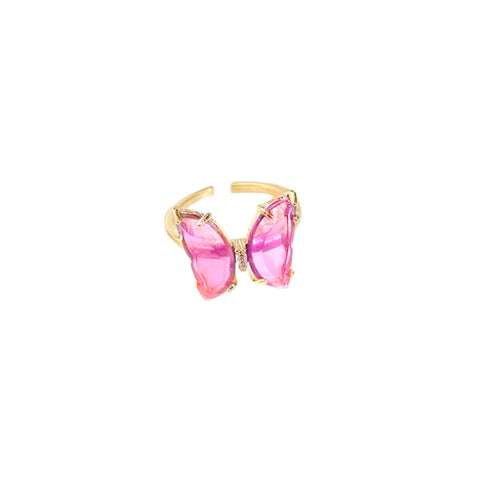 Crystal butterfly ring - Pink