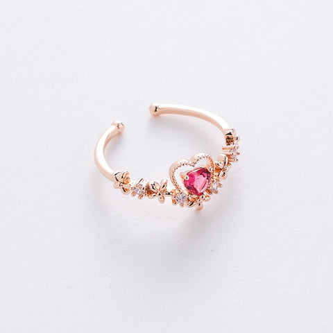 Crown Heart Stone Ring (adjustable size)