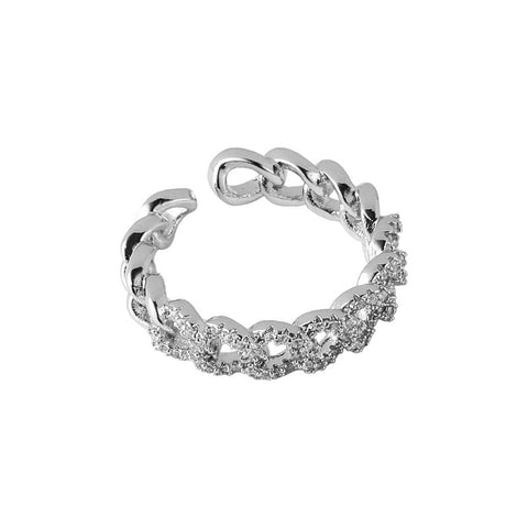 Silver chain link Ring (adjustable size)
