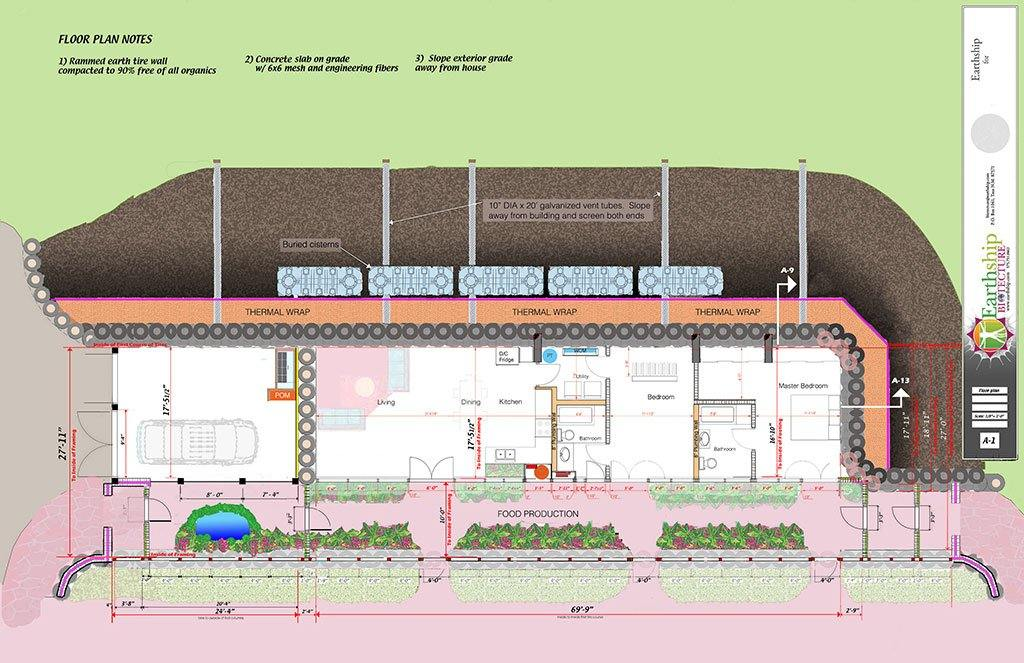Construction Drawings Off Grid Earthship Biotecture