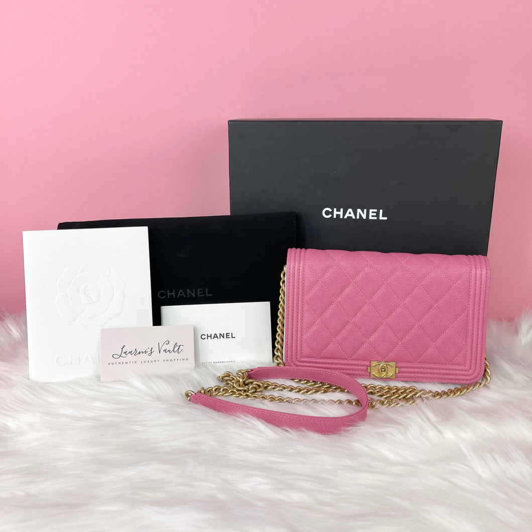 CHANEL BOY WALLET ON CHAIN GRAINED CALFSKIN LEATHER PINK (27014646)
