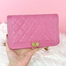 Load image into Gallery viewer, CHANEL BOY WALLET ON CHAIN GRAINED CALFSKIN LEATHER PINK (27014646)