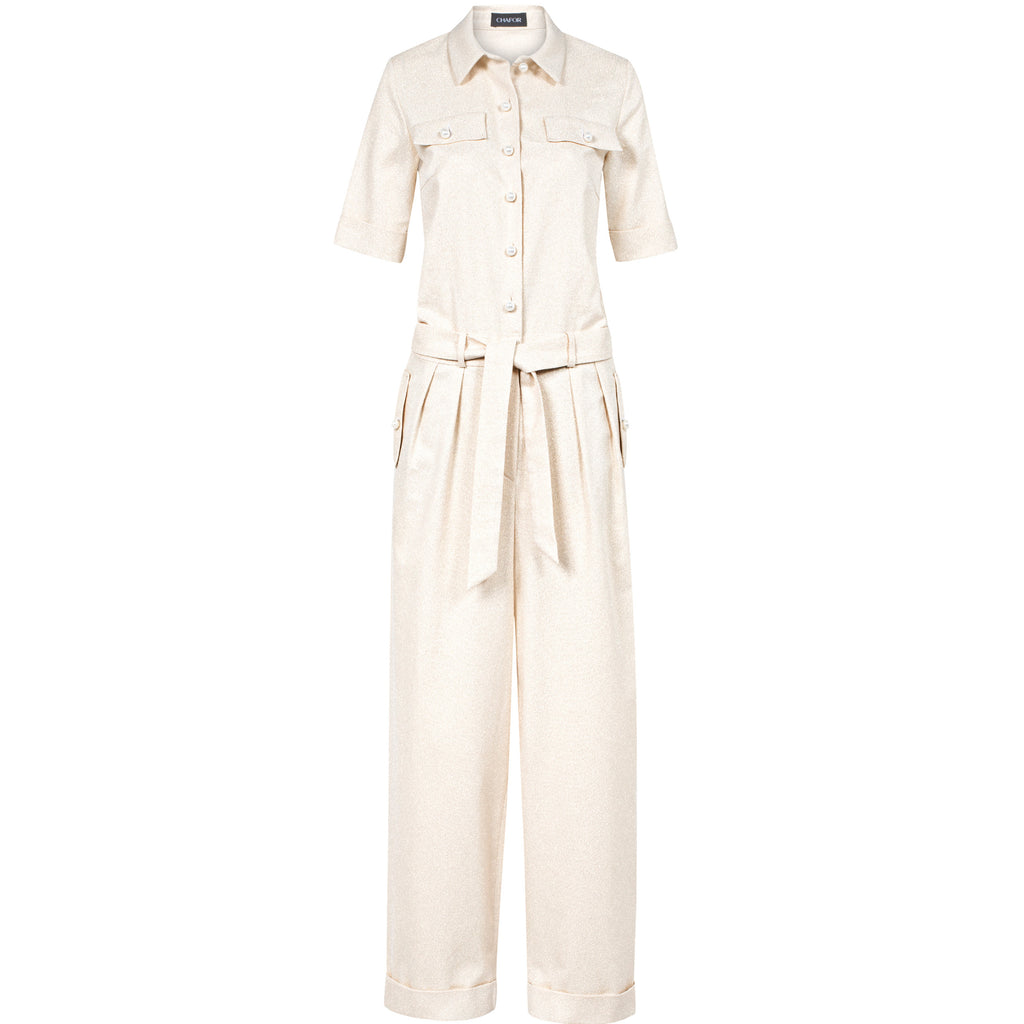 C386 LAMÉ JUMPSUIT WITH PEARL BUTTONS