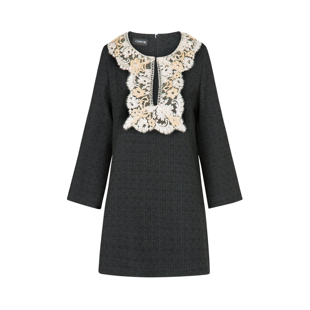 C464 TWEED TUNIC WITH LUXURIOUS LACE DETAILS