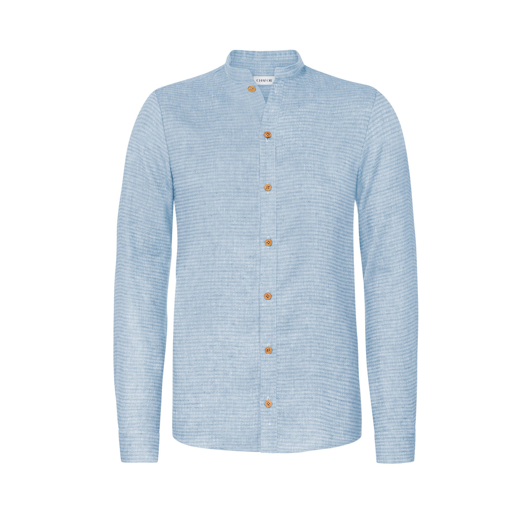C236 Linen shirt  with stand-up collar