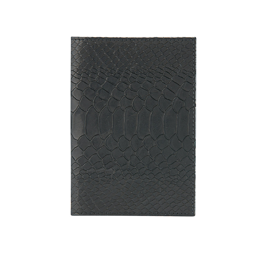 CHAFOR Passport cover in black python print