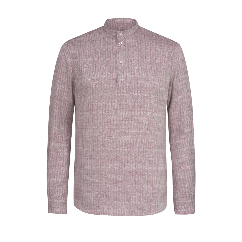 C414 Long shirt with fine ethno print made of pure linen