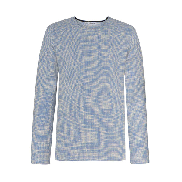 C301 Rundhals Pullover in hellblauem Tweed – Made in Germany