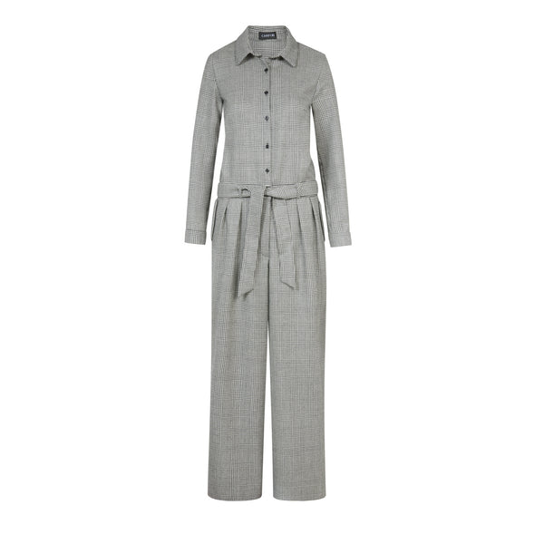C285 Jumpsuit aus Schurwolle mit Glencheck- Muster - Made in Germany