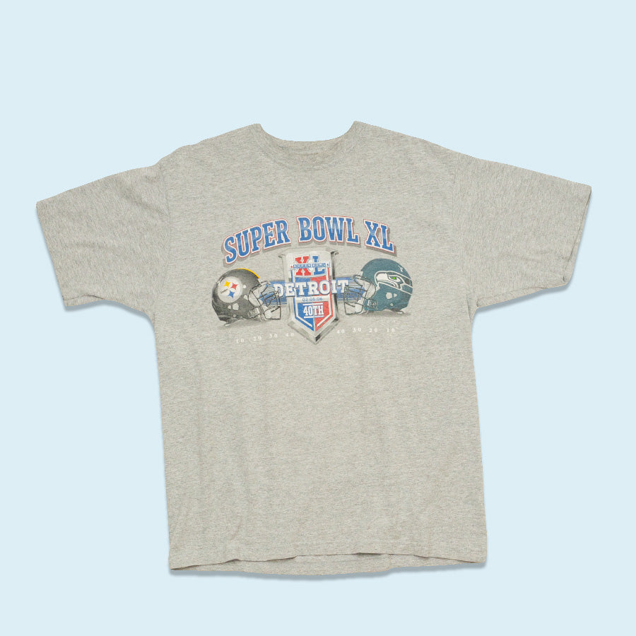 Reebok Super Bowl XL Detroit, Grey, L